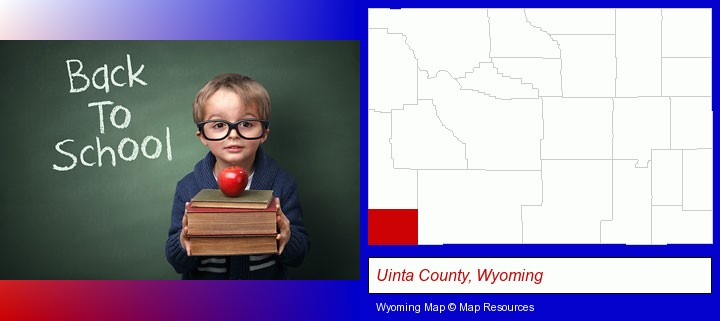 the back-to-school concept; Uinta County, Wyoming highlighted in red on a map