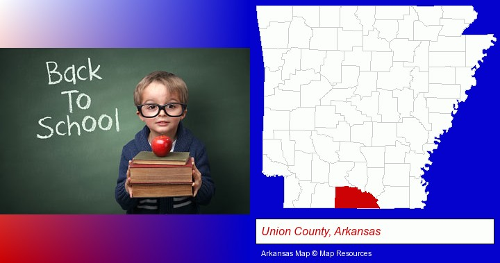 the back-to-school concept; Union County, Arkansas highlighted in red on a map