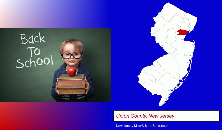 the back-to-school concept; Union County, New Jersey highlighted in red on a map