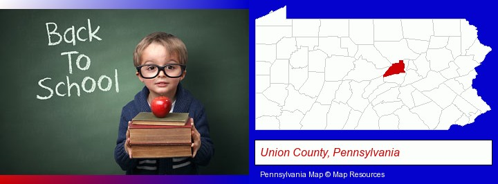 the back-to-school concept; Union County, Pennsylvania highlighted in red on a map