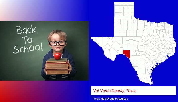 the back-to-school concept; Val Verde County, Texas highlighted in red on a map