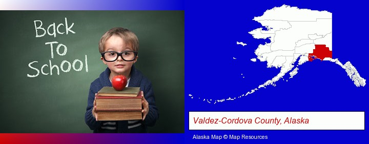 the back-to-school concept; Valdez-Cordova County, Alaska highlighted in red on a map