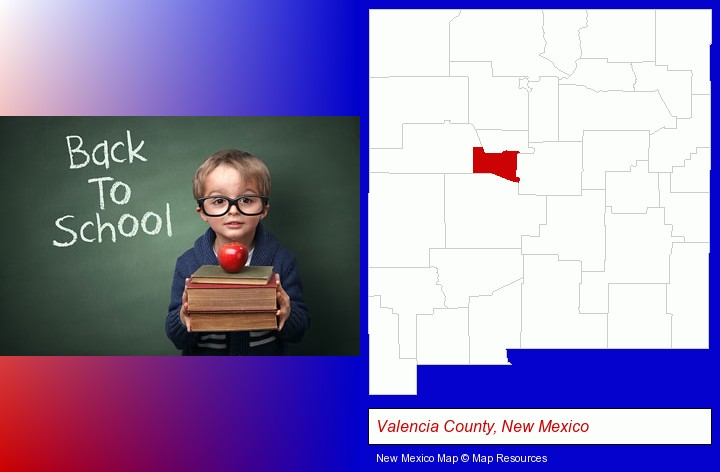 the back-to-school concept; Valencia County, New Mexico highlighted in red on a map