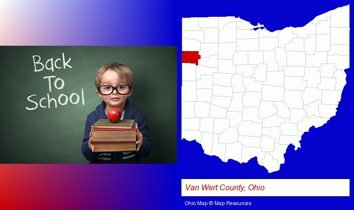 the back-to-school concept; Van Wert County, Ohio highlighted in red on a map