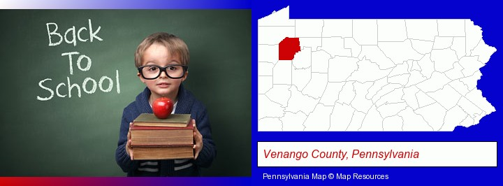 the back-to-school concept; Venango County, Pennsylvania highlighted in red on a map