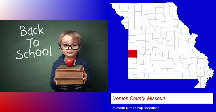 the back-to-school concept; Vernon County, Missouri highlighted in red on a map
