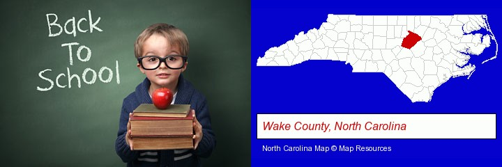 the back-to-school concept; Wake County, North Carolina highlighted in red on a map