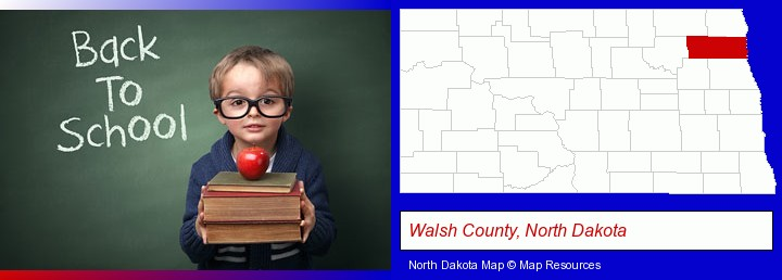 the back-to-school concept; Walsh County, North Dakota highlighted in red on a map