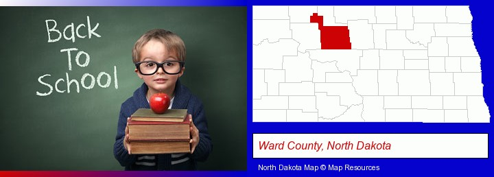the back-to-school concept; Ward County, North Dakota highlighted in red on a map