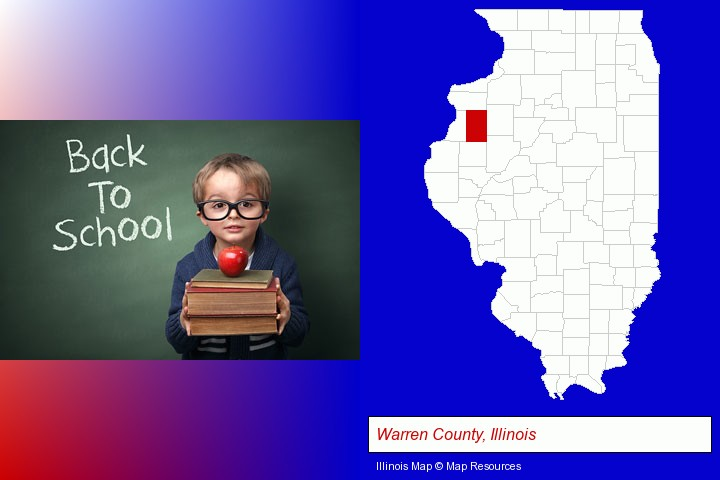the back-to-school concept; Warren County, Illinois highlighted in red on a map