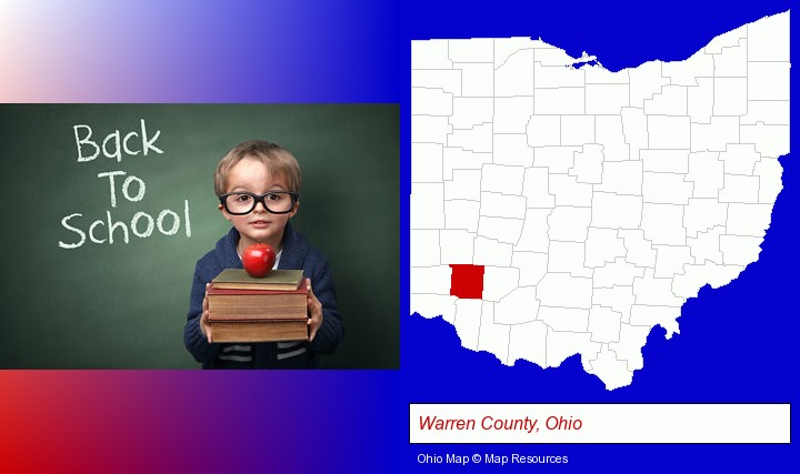 the back-to-school concept; Warren County, Ohio highlighted in red on a map