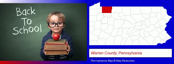 the back-to-school concept; Warren County, Pennsylvania highlighted in red on a map
