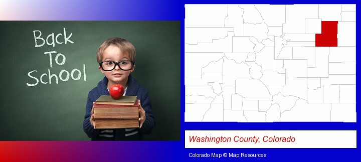 the back-to-school concept; Washington County, Colorado highlighted in red on a map