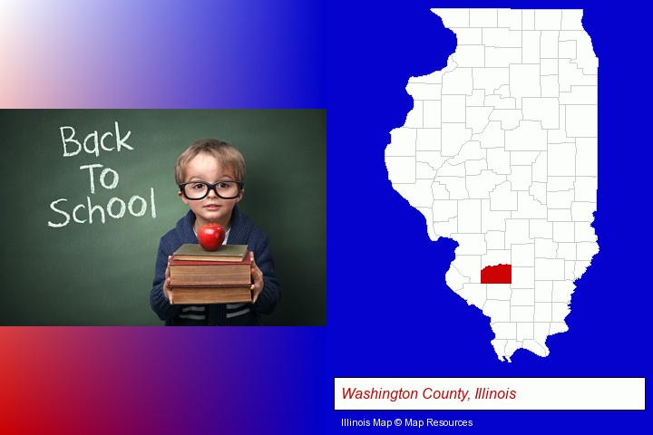 the back-to-school concept; Washington County, Illinois highlighted in red on a map