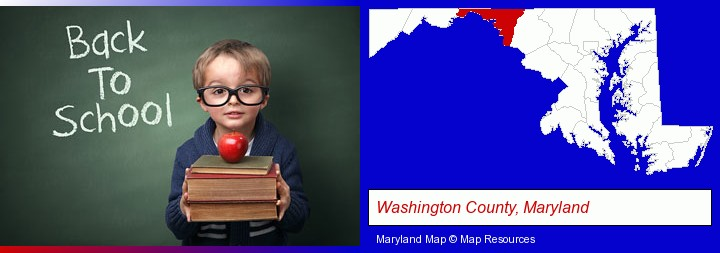 the back-to-school concept; Washington County, Maryland highlighted in red on a map