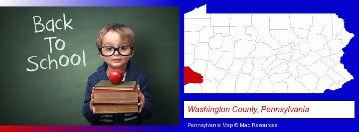 the back-to-school concept; Washington County, Pennsylvania highlighted in red on a map