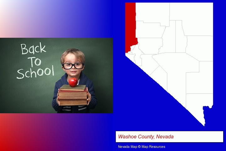 the back-to-school concept; Washoe County, Nevada highlighted in red on a map