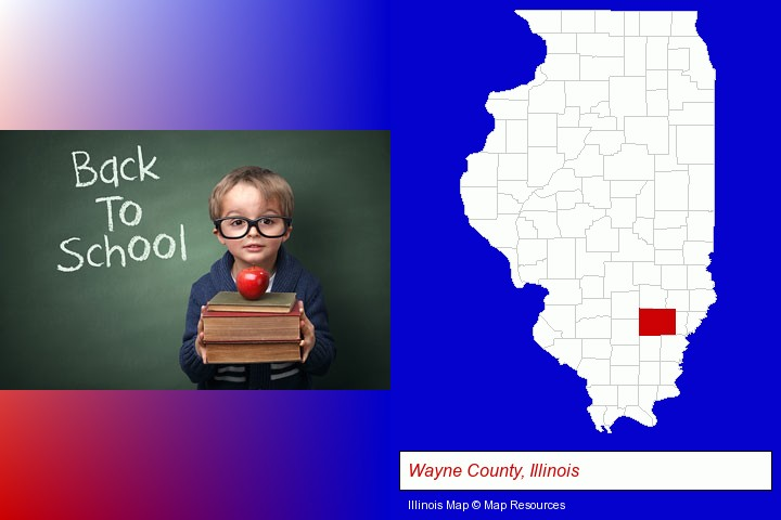 the back-to-school concept; Wayne County, Illinois highlighted in red on a map