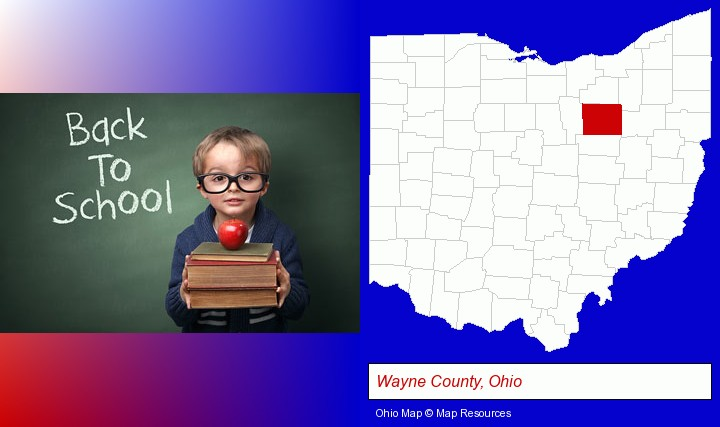 the back-to-school concept; Wayne County, Ohio highlighted in red on a map