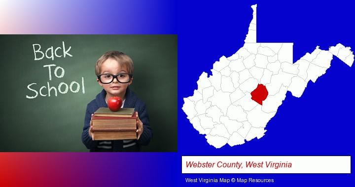 the back-to-school concept; Webster County, West Virginia highlighted in red on a map