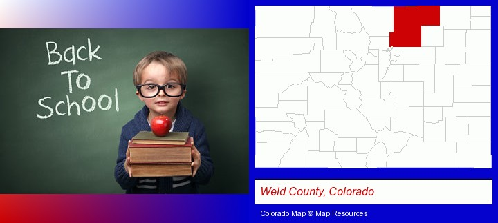 the back-to-school concept; Weld County, Colorado highlighted in red on a map