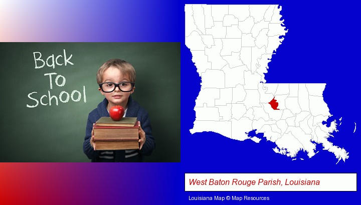 the back-to-school concept; West Baton Rouge Parish, Louisiana highlighted in red on a map