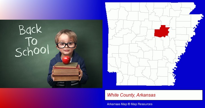 the back-to-school concept; White County, Arkansas highlighted in red on a map