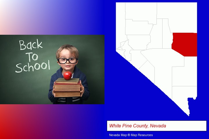 the back-to-school concept; White Pine County, Nevada highlighted in red on a map