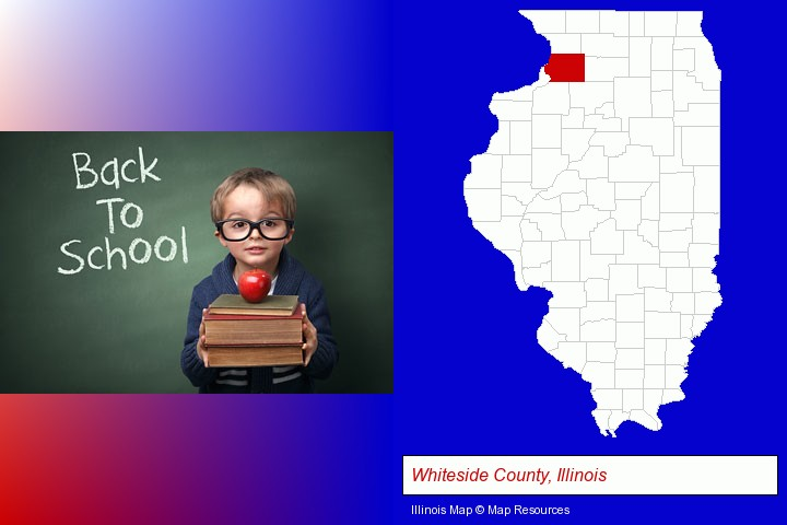 the back-to-school concept; Whiteside County, Illinois highlighted in red on a map