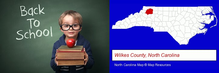 the back-to-school concept; Wilkes County, North Carolina highlighted in red on a map