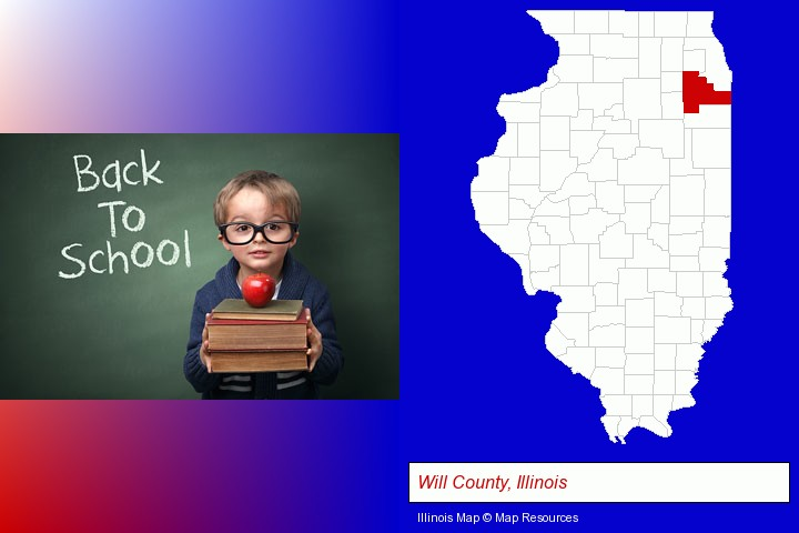 the back-to-school concept; Will County, Illinois highlighted in red on a map