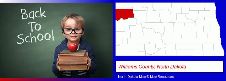 the back-to-school concept; Williams County, North Dakota highlighted in red on a map