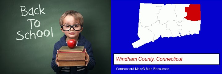 the back-to-school concept; Windham County, Connecticut highlighted in red on a map