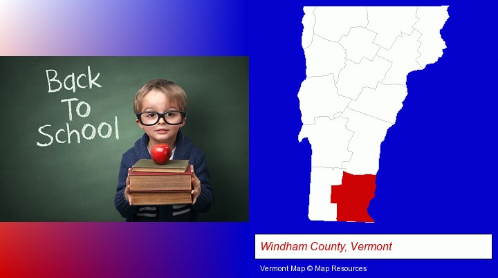 the back-to-school concept; Windham County, Vermont highlighted in red on a map