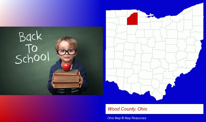 the back-to-school concept; Wood County, Ohio highlighted in red on a map