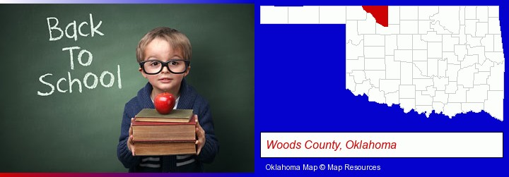 the back-to-school concept; Woods County, Oklahoma highlighted in red on a map