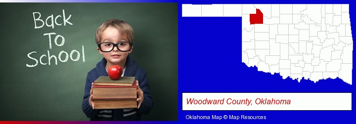 the back-to-school concept; Woodward County, Oklahoma highlighted in red on a map