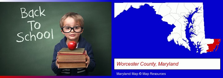 the back-to-school concept; Worcester County, Maryland highlighted in red on a map