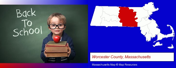 the back-to-school concept; Worcester County, Massachusetts highlighted in red on a map