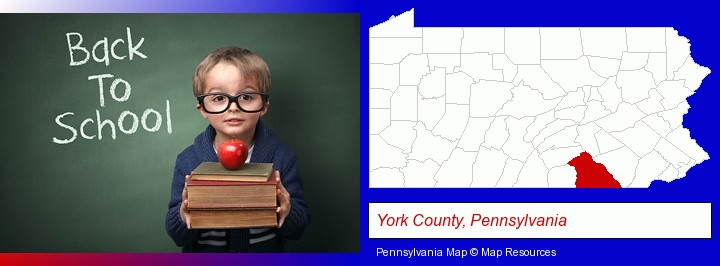 the back-to-school concept; York County, Pennsylvania highlighted in red on a map