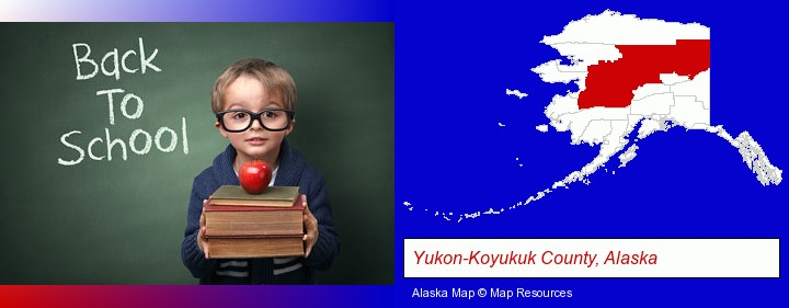 the back-to-school concept; Yukon-Koyukuk County, Alaska highlighted in red on a map