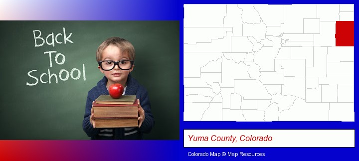 the back-to-school concept; Yuma County, Colorado highlighted in red on a map